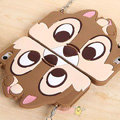 Cute Cover Cartoon Chipmunk Silicone Cases Chain for iPhone 7 Plus 5.5 - Brown