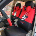 Disney Mickey Minnie Mouse Universal Auto Car Seat Cover Set 18pcs - Red Black