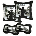 Genuine Mickey Mouse Auto Car Use Interior Decoration Hold pillow Cotton Full Set 4pcs - Black