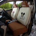 Cheap Mickey Minnie Mouse Universal Auto Cars Seat Covers Cotton Full Set 10pcs - Beige