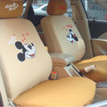 Cheapest Mickey Mouse Universal Auto Car Seat Covers Honeycomb Mesh Full Set 10pcs - Beige