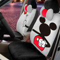 Floral Mickey Mouse Universal Auto Car Seat Covers Velvet Full Set 18pcs - Grey Black