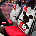 Floral Mickey Mouse Universal Auto Car Seat Covers Velvet Full Set 18pcs - Grey Red