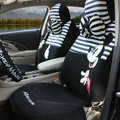 Fringe Mickey Mouse Universal Auto Car Seat Covers Sandwich Fabric Full Set 17pcs - White Black