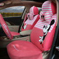 Fringe Mickey Mouse Universal Auto Car Seat Covers Sandwich Fabric Full Set 17pcs - White Pink