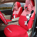Fringe Mickey Mouse Universal Auto Car Seat Covers Sandwich Fabric Full Set 17pcs - White Red