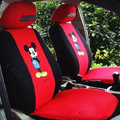Fun Mickey Mouse Universal Auto Car Seat Covers Cotton Full Set 10pcs - Black Red