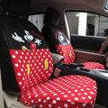 Furry Mickey Minnie Mouse Universal Dot Auto Car Seat Covers Velvet Full Set 16pcs - Red Black