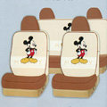Lovely Mickey Mouse Universal Auto Car Seat Covers Cotton Full Set 10pcs - Beige