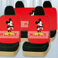 Lovely Mickey Mouse Universal Auto Car Seat Covers Cotton Full Set 10pcs - Red