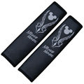 Luxury Mickey Mouse PU Leather Car Seat Strap Covers Car Decoration 2pcs - Black