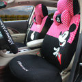 Unique Mickey Mouse Universal Dot Auto Car Seat Covers Sandwich Fabric Full Set 17pcs - Rose