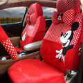 Unique Mickey Mouse Universal Dot Auto Car Seat Covers Velvet Full Set 17pcs - Red