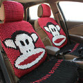 Funky Paul Frank Universal Auto Car Seat Covers Ice Silk Full Set 5pcs - Red