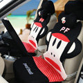 Funky Paul Frank Universal Auto Dot Car Seat Covers Ice Silk Full Set 12pcs - Black Red