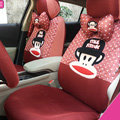 Pretty Paul Frank Universal Auto Dot Seat Cover For Cars Sandwich Fabric Full Set 18pcs - Red