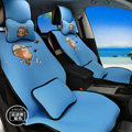 Pretty YoCi Monkey Universal Auto Seat Cover For Car Sandwich Fabric Full Set 15pcs - Blue